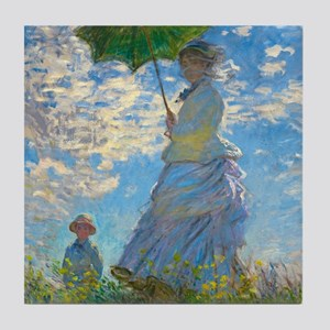 Woman with A Parasol by Claude Monet Tile Coaster