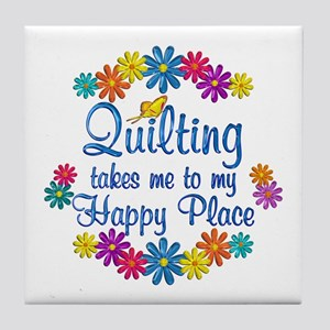 Quilting Happy Place Tile Coaster
