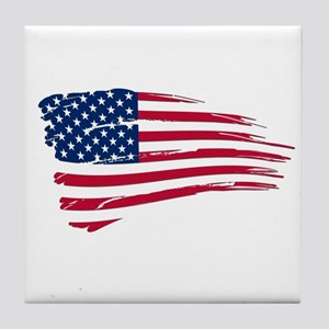 Tattered US Flag Tile Coaster