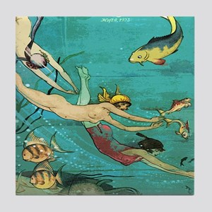Vintage French Women Fish Sea Tile Coaster