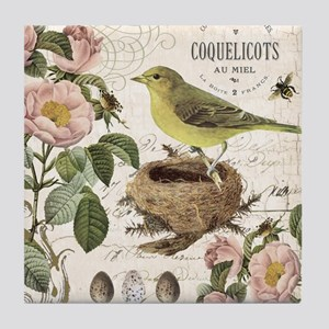 Modern vintage french bird and nest Tile Coaster