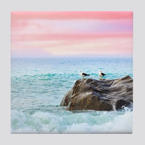 Seagulls at Sunrise Tile Coaster