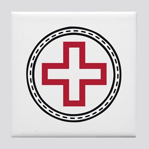 Circled Red Cross Tile Coaster