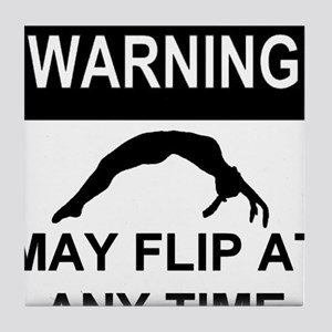 Warning may flip gymanstics Tile Coaster