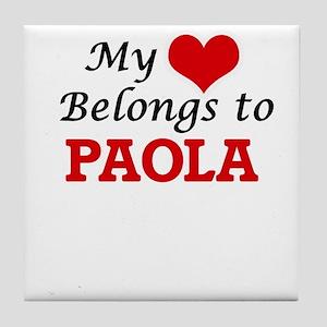 98a288cad3e My heart belongs to Paola Tile Coaster