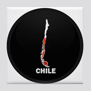 Flag Map of Chile Tile Coaster