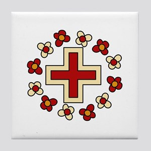 Floral Red Cross Tile Coaster