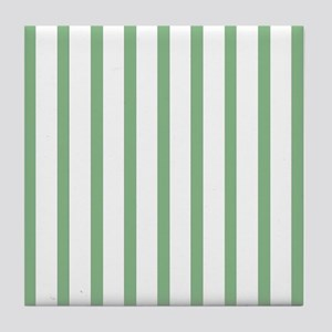 Green and white Thin Stripes Tile Coaster