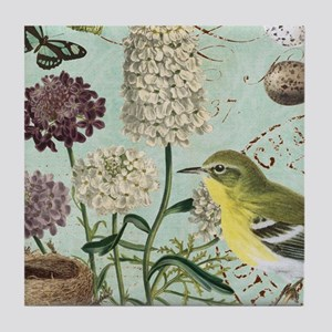 Vintage French bird and nest Tile Coaster