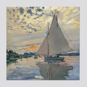 Monet Sailboat French Impressionist Tile Coaster