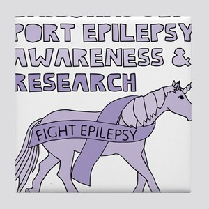 d06e347e Unicorns Support Epilepsy Awareness Tile Coaster