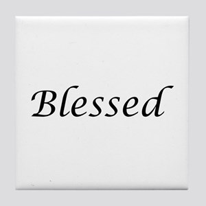 Blessed Calligraphy Style Tile Coaster