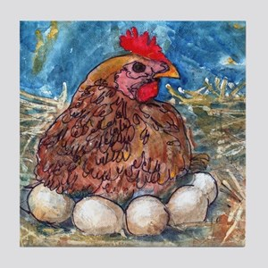 Family Nest, Chicken with eggs Tile Coaster