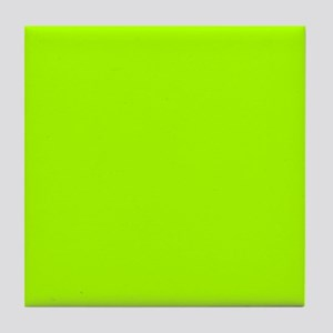 Fluorescent Green Solid Color Tile Coaster