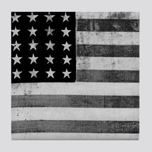 American Vintage Flag Black and White Tile Coaster