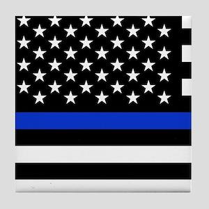 Thin Blue Line American Flag Tile Coaster