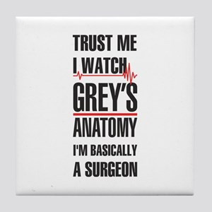 Greys Anatomy trust me black Tile Coaster