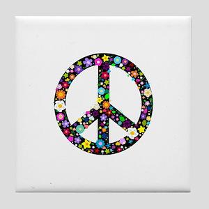 Hippie Flowery Peace Sign Tile Coaster
