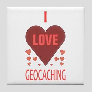 I Love Geocaching Tile Coaster