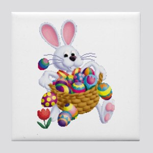 Easter Bunny With Basket Of Eggs Tile Coaster