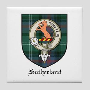 Sutherland Clan Crest Tartan Tile Coaster