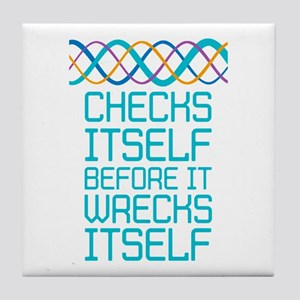 DNA Checks Itself Tile Coaster