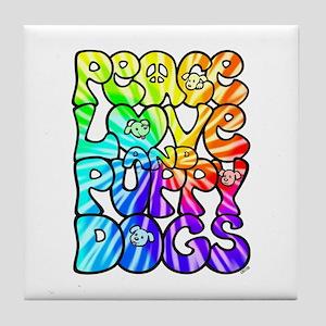 PeaceLovePuppyDogs2Tie-Dye Tile Coaster