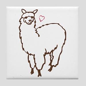 Cute Alpaca Tile Coaster