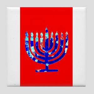 Red Vibrant Menorah Blue Hanukkah Tile Coaster