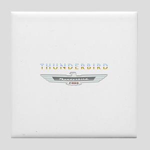 Ford Thunderbird Emblem Orange Chrome Tile Coaster