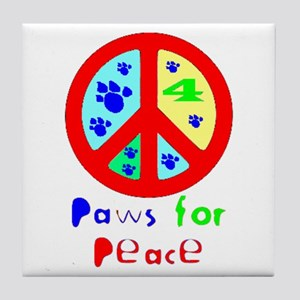 Paws for Peace Red Tile Coaster