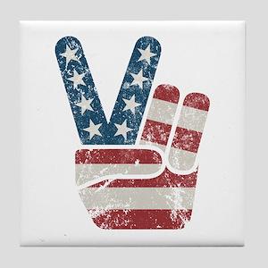 Peace Sign USA Vintage Tile Coaster