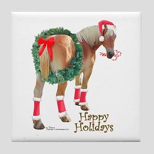 Christmas Draft Horse Belgian Tile Coaster