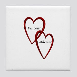 Vincent and Catherine Two Hearts Tile Coaster