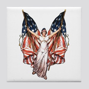Vintage American Flag Art Tile Coaster