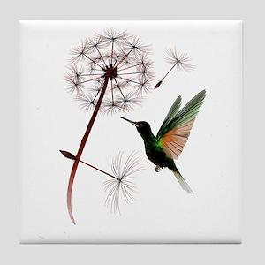 Dandelion and Little Green Hu Tile Coaster