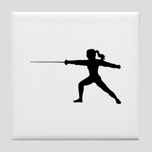 Girl Fencer Lunging Tile Coaster