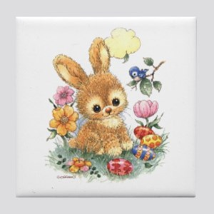 Cute Easter Bunny With Flowers And Tile Coaster