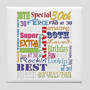 30th Birthday Typography Tile Coaster