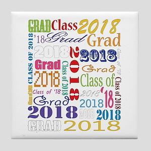 2018 Graduation Typography Tile Coaster
