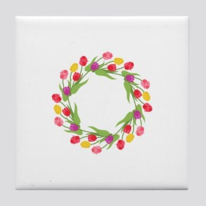 Tulips Wreath Tile Coaster