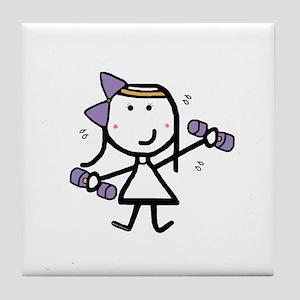 Girl & Exercise Tile Coaster