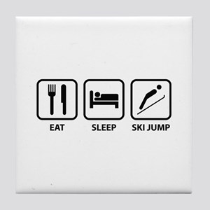 Eat Sleep Ski Jump Tile Coaster