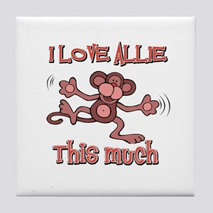 I love Allie this much Tile Coaster
