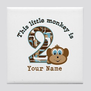 2nd Birthday Monkey Personalized Tile Coaster
