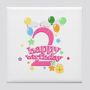 2nd Birthday with Balloons - Pink Tile Coaster