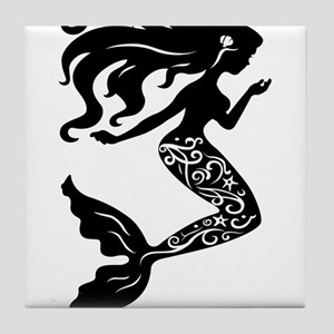 Mermaid silhouette design Tile Coaster