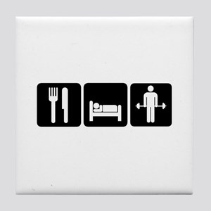 Man Eat Sleep Lift Weights Tile Coaster