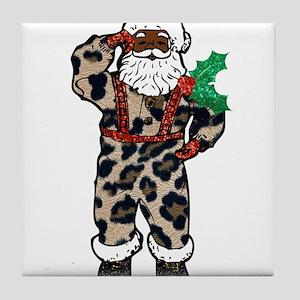 african leopard santa claus Tile Coaster