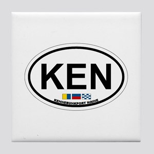 Kennebunk ME - Oval Design. Tile Coaster